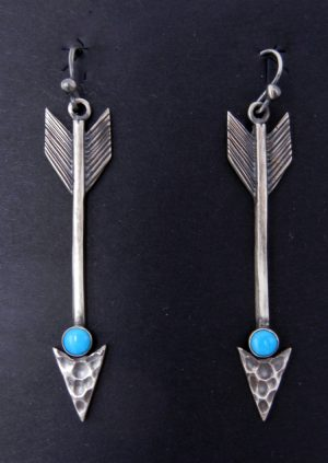 Navajo brushed and hammered sterling silver and turquoise arrow dangle earrings