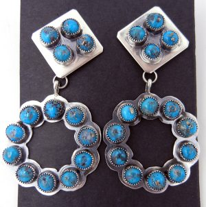 Navajo turquoise cluster and sterling silver cut out dangle earrings