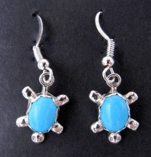 Navajo small turquoise and sterling silver turtle dangle earrings
