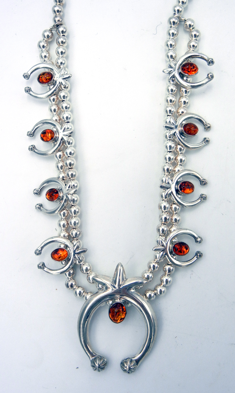 Navajo Sterling Silver and Amber Naja Necklace