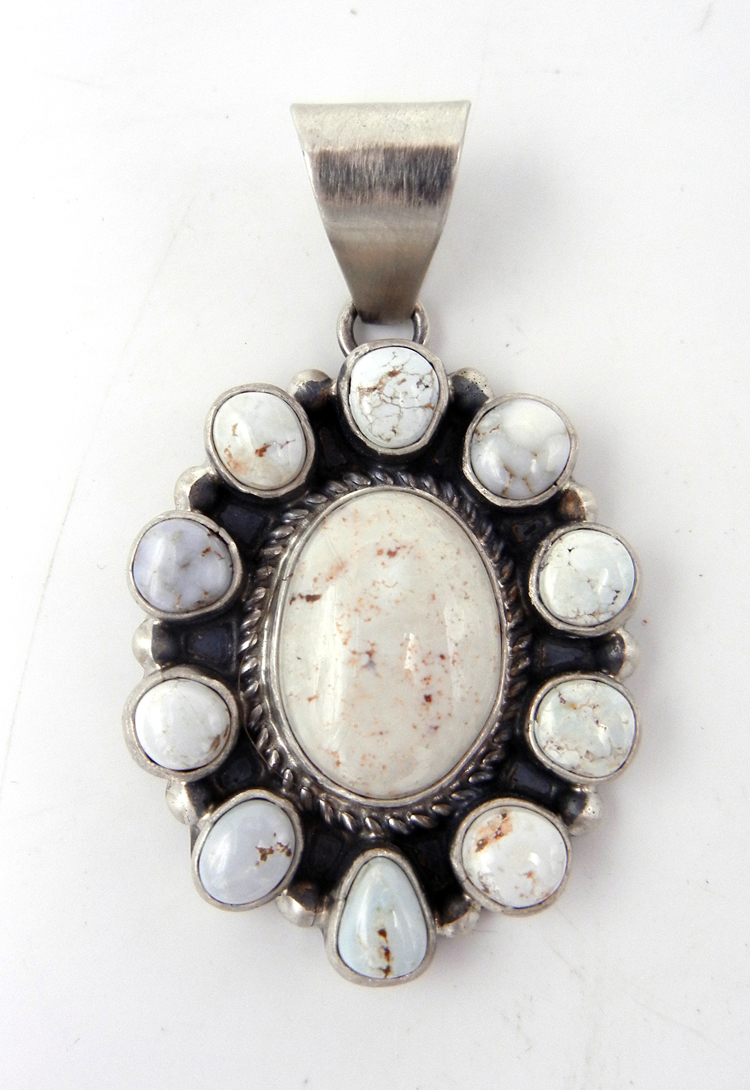 Navajo Dry Creek Turquoise and Sterling Silver Rosette Pendant