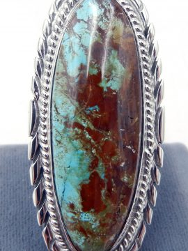 Navajo Thomas Francisco Large Kingman Turquoise and Sterling Silver Ring