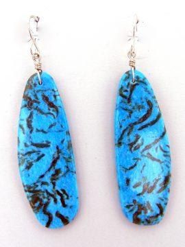 Santo Domingo Ronald Chavez Turquoise Slab Earrings