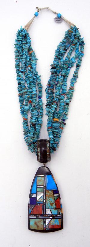Santo Domingo multi-stone and multi-strand necklace with multi-stone inlay pendant by Chris Nieto