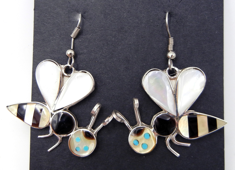 Zuni Angus Ahiyite Multi-Stone Inlay and Sterling Silver Bee Dangle Earrings