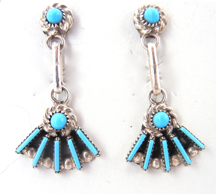 "Zuni Small Turquoise Needlepoint and Petit Point and Sterling Silver ""Fan"" Earrings"