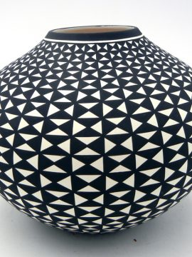 Acoma Paula Esteva Black and White Mirrored Eye Dazzler Design Seed Pot