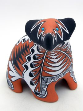 Jemez Mary Small Polychrome Bear Figurine with Turquoise Accents