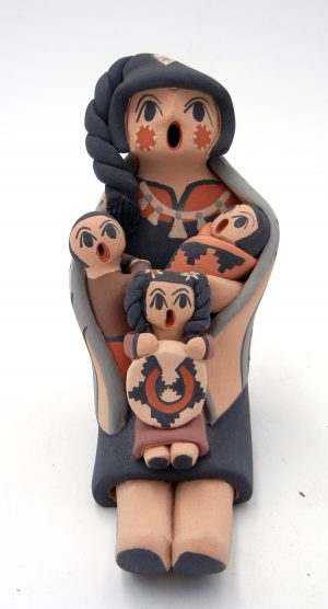 Jemez handmade storyteller with three children by Chrislyn Fragua