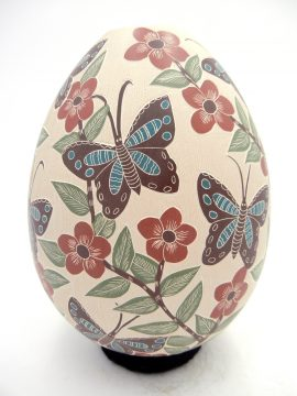 Mata Ortiz Blanca Arras Polychrome Etched and Painted Butterfly and Flower Vase