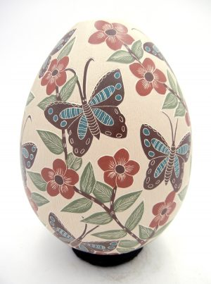 Mata Ortiz polychrome etched and painted butterfly and flower vase by Blanca Arras