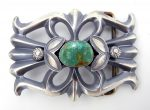 Navajo sandcast sterling silver and turquoise belt buckle by Henry Morgan