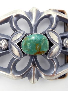 Navajo Henry Morgan Sandcast Sterling Silver and Turquoise Belt Buckle