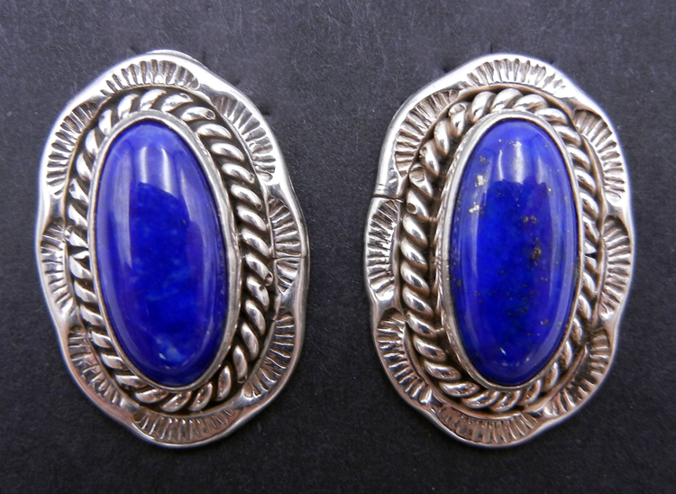 Navajo Lapis and Sterling Silver Earrings