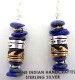 Navajo lapis and sterling silver/gold fill overlay earrings by Rosita Singer