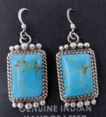 Navajo turquoise and sterling silver small dangle earrings