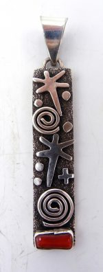 Navajo sterling silver and coral petroglyph style pendant by Alex Sanchez