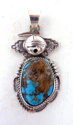 Navajo Bennie Ration turquoise and sterling silver maiden pendant
