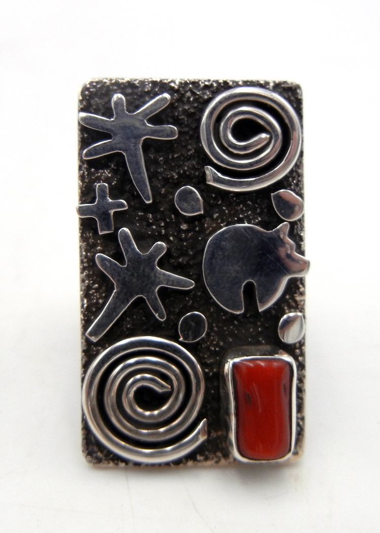 Navajo Alex Sanchez Sterling Silver and Coral Petroglyph Style Ring