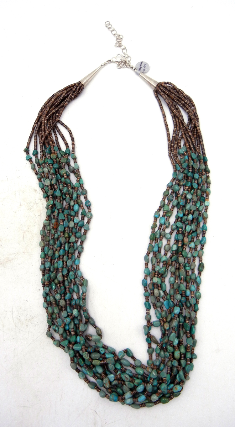 Santo Domingo Josephine Coriz Turquoise and Olive Shell 12 Strand Necklace
