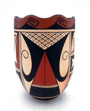 Hopi handmade and hand painted cylindrical vase by Stetson Setalla
