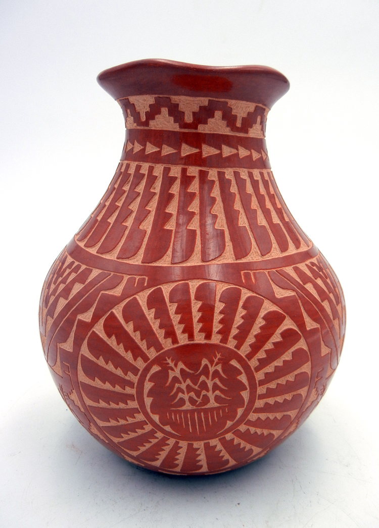 Jemez red etched and polished vase by Alvina Yepa
