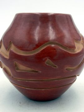 Santa Clara Stella Chavarria Red Etched and Polished Small Avanyu Jar