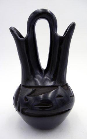 Santa Clara black polished avanyu wedding vase by April Naranjo