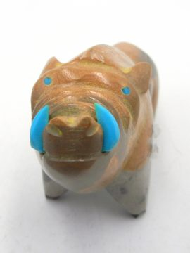 Zuni Enrike Leekya Picasso Marble Warthog Fetish with Turquoise Accents
