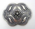 Navajo sterling silver hand stamped, applique and repousse belt buckle by Myron Etsitty
