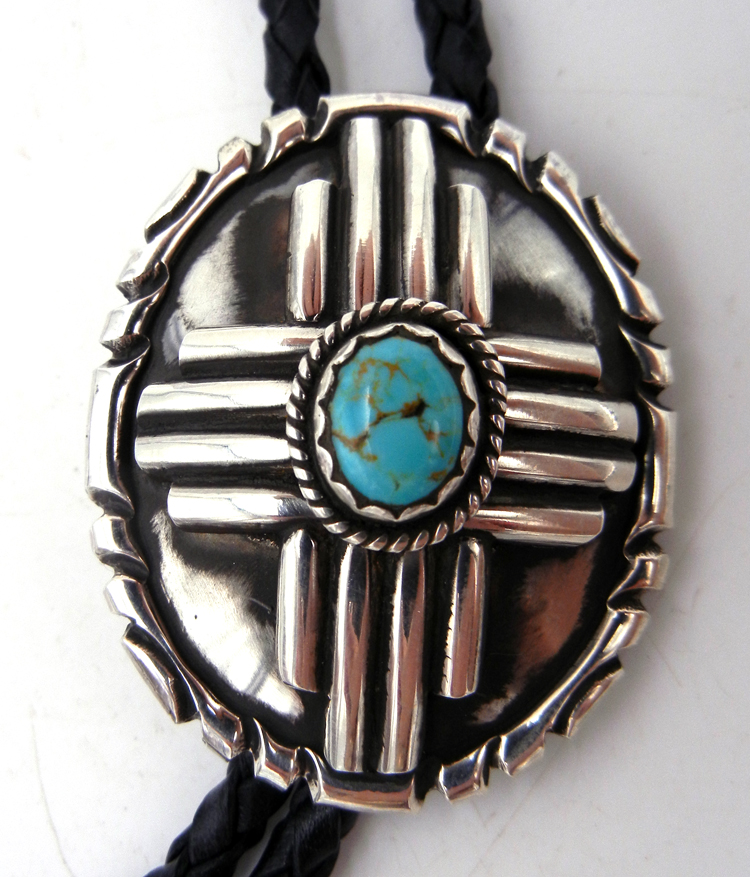 Navajo Robert Yellowhorse Turquoise and Sterling Silver Zia Symbol Bolo Tie