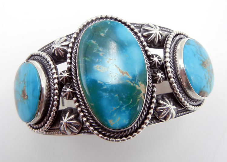 Navajo Royston turquoise and sterling silver heavy gauge cuff bracelet by Hemerson Brown
