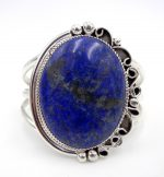 Navajo large lapis and sterling silver cuff bracelet by Leslie Nez