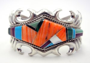 Navajo sandcast sterling silver and multi-stone inlay cuff bracelet