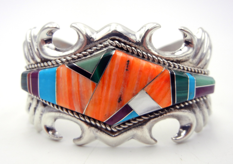 Navajo Multi-Stone Inlay and Sandcast Sterling Silver Cuff Bracelet