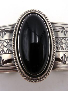 Navajo Raymond Delgarito Onyx and Brushed Sterling Silver Cuff Bracelet