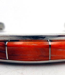 Navajo Orange Spiny Oyster, Lab Opal, and Sterling Silver Inlay Cuff Bracelet