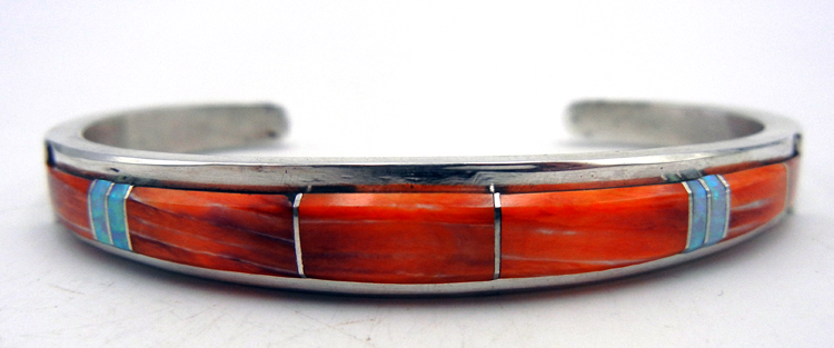 Navajo orange spiny oyster, lab opal, and sterling silver channel inlay cuff bracelet