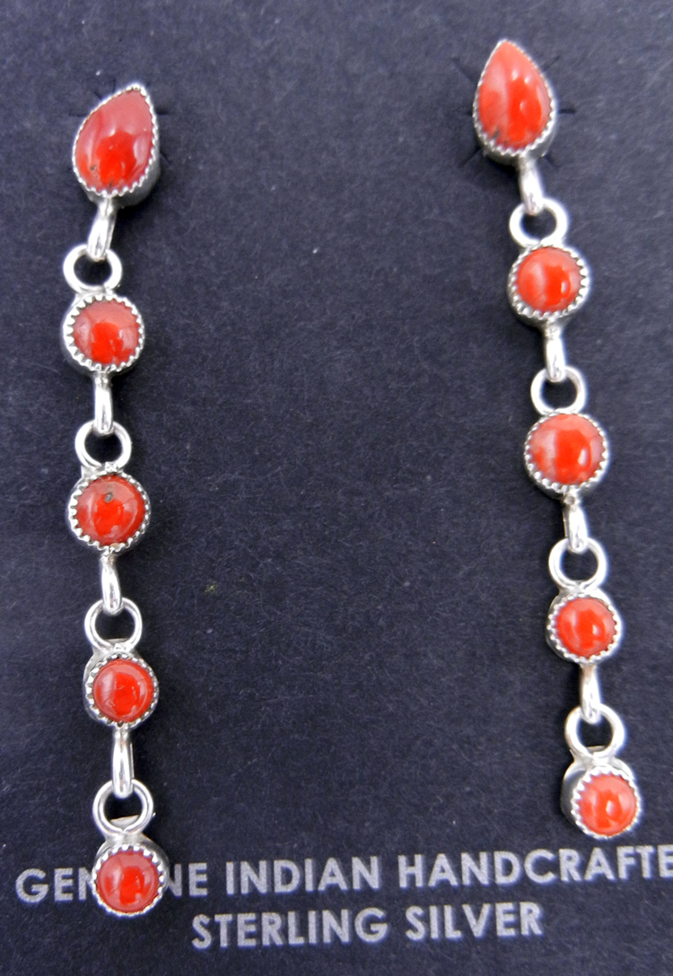 Navajo Coral and Sterling Silver Dangle Earrings