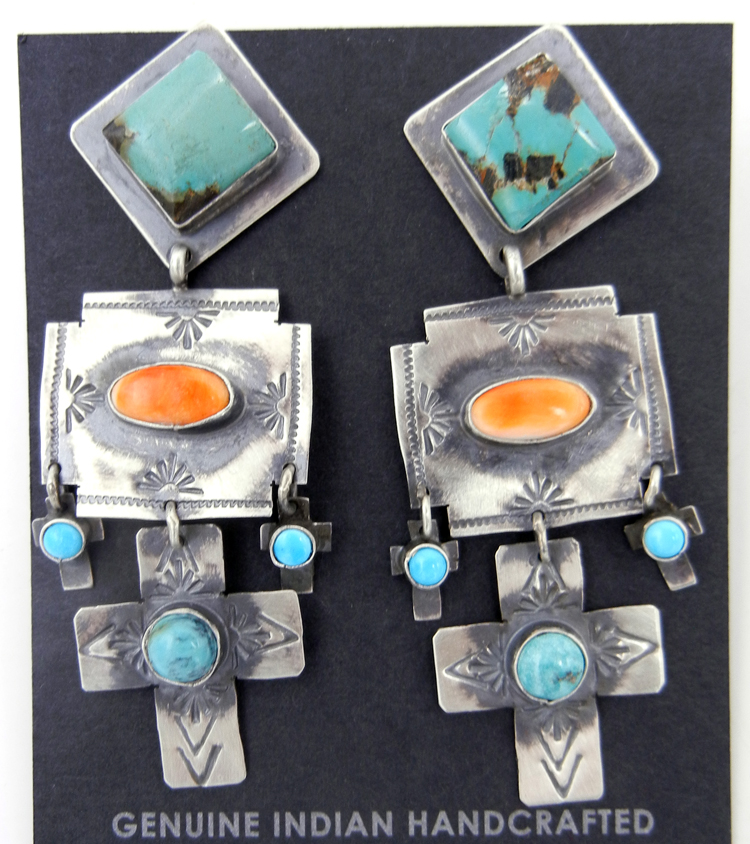 Navajo Rita Lee Turquoise, Orange Spiny Oyster Shell, and Sterling Silver Dangle Earrings