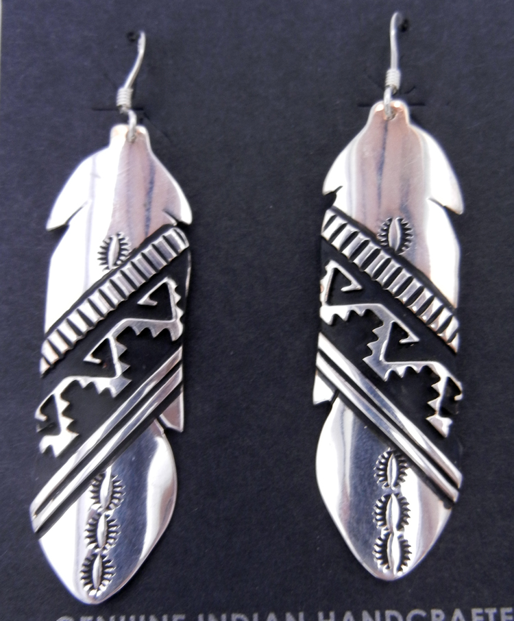 Navajo Rosita Singer Sterling Silver Overlay Feather Dangle Earrings