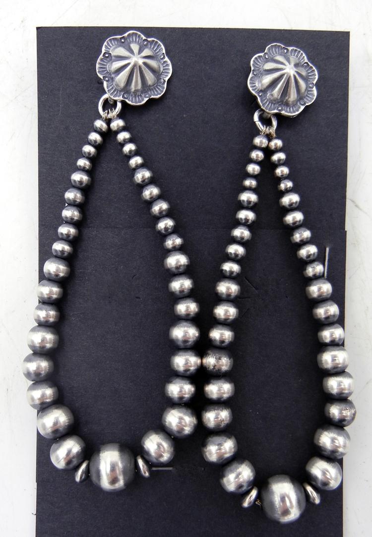 """Navajo Brushed Sterling Silver """"Navajo Pearl"""" Loop Earrings"""