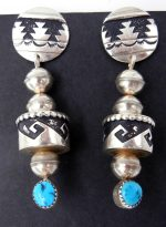Navajo sterling silver overlay and turquoise dangle earrings