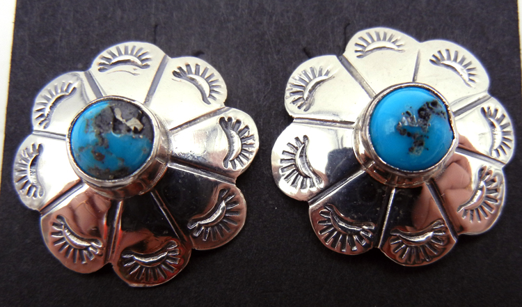 Navajo Small Sterling Silver and Turquoise Concho Style Earrings