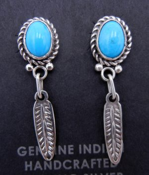 Navajo small turquoise and sterling silver feather dangle earrings