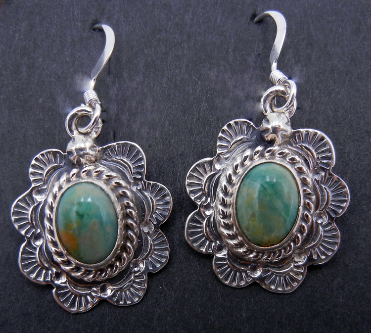 Navajo Small Green Turquoise and Sterling Silver Dangle Earrings