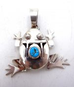 Navajo sterling silver and turquoise shadowbox frog pendant by Bennie Ration