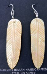 Santo Domingo golden mother of pearl feather slab earrings by Ronald Chavez