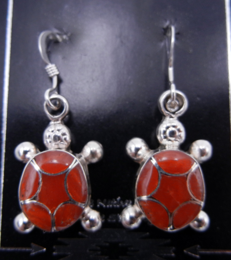 Zuni Coral and Sterling Silver Inlay Turtle Dangle Earrings