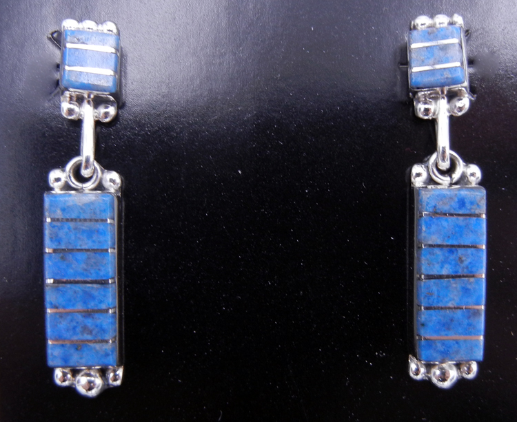 Zuni Denim Lapis and Sterling Silver Dangle Earrings